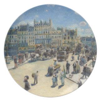 Pont Neuf, Paris, 1872 (oil on canvas) Melamine Plate