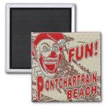 Pontchartrain Beach Fun Clown 2 Inch Square Magnet