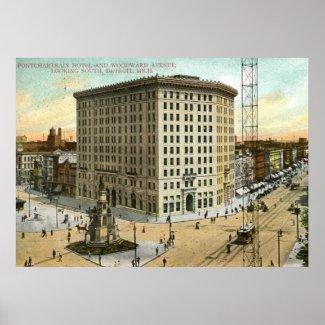 Pontchartrain Hotel, Detroit MI 1908 Vintage print