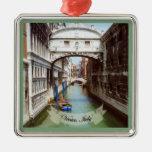 Ponte dei Sospiri Venezia Italia Souvenir Square Metal Christmas Ornament
