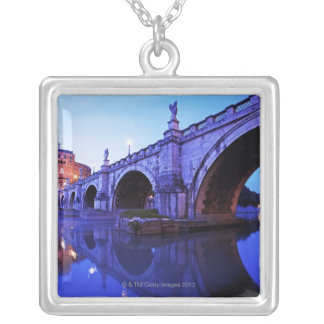 Ponte Sant' Angelo and Castel Sant' Angelo over Silver Plated Necklace