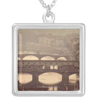 Ponte Vecchio and Arno Silver Plated Necklace