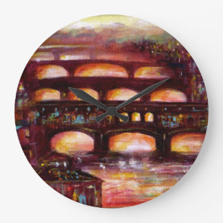 Ponte Vecchio and Other Bridges of Florence Large Clock