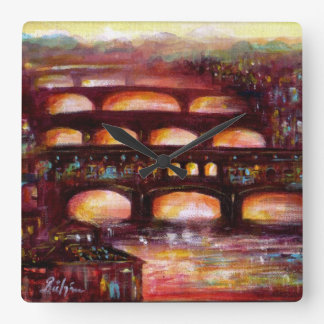 Ponte Vecchio and Other Bridges of Florence Square Wall Clock