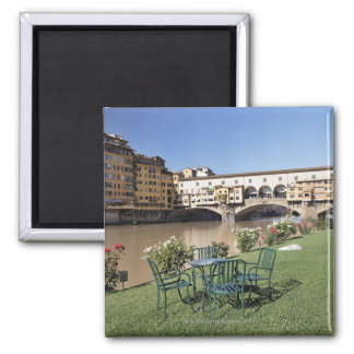 Ponte Vecchio and table along Arno Rive 2 Inch Square Magnet