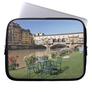Ponte Vecchio and table along Arno Rive Computer Sleeve