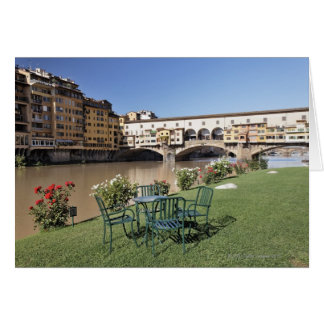 Ponte Vecchio and table along Arno Rive Greeting Card