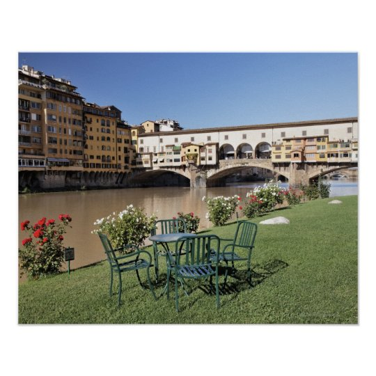 Ponte Vecchio and table along Arno Rive Poster