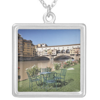 Ponte Vecchio and table along Arno Rive Silver Plated Necklace