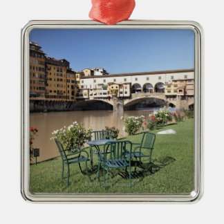 Ponte Vecchio and table along Arno Rive Square Metal Christmas Ornament