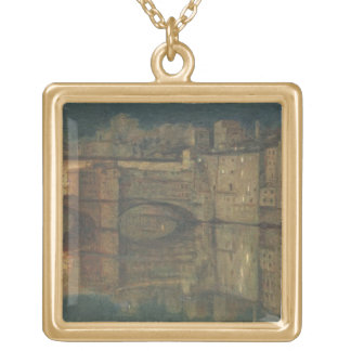 Ponte Vecchio, Florence (oil on canvas) Gold Plated Necklace