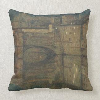 Ponte Vecchio, Florence (oil on canvas) Throw Pillow