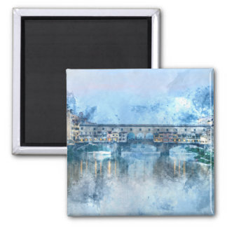 Ponte Vecchio on the river Arno in Florence, Italy 2 Inch Square Magnet