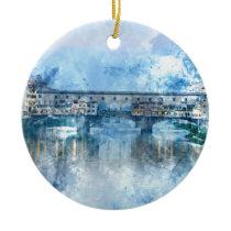 Ponte Vecchio on the river Arno in Florence, Italy Ceramic Ornament