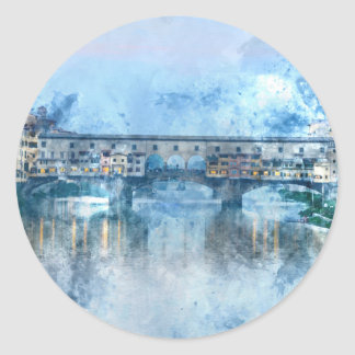 Ponte Vecchio on the river Arno in Florence, Italy Classic Round Sticker