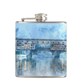 Ponte Vecchio on the river Arno in Florence, Italy Hip Flask