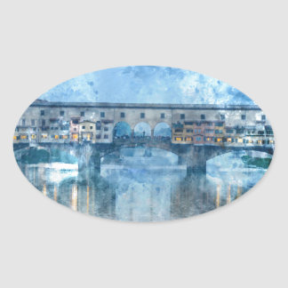 Ponte Vecchio on the river Arno in Florence, Italy Oval Sticker