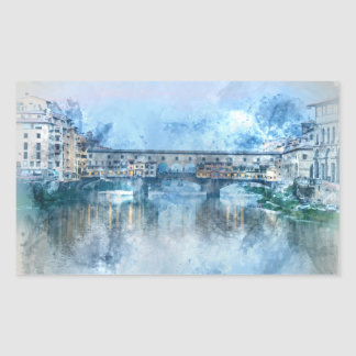 Ponte Vecchio on the river Arno in Florence, Italy Rectangular Sticker