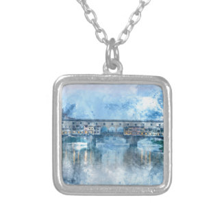 Ponte Vecchio on the river Arno in Florence, Italy Silver Plated Necklace
