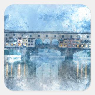 Ponte Vecchio on the river Arno in Florence, Italy Square Sticker