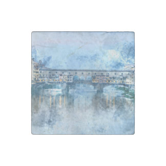 Ponte Vecchio on the river Arno in Florence, Italy Stone Magnet