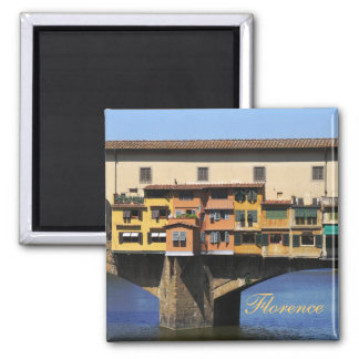 Ponte Vecchio over Arno River in Florence, Italy 2 Inch Square Magnet