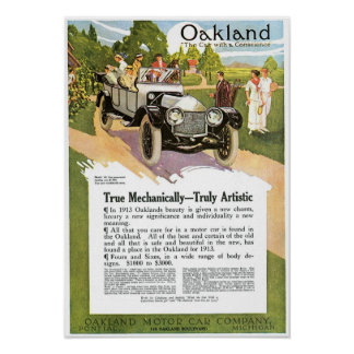 Pontiac 1913 Automobile Vintage Ad Art Poster