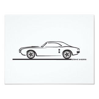 """Pontiac Firebird 1968 Invitación 4.25"""" X 5.5"""""""