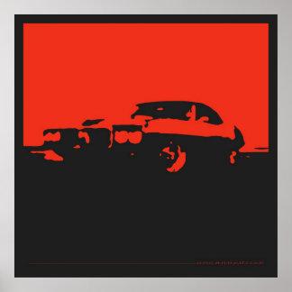 Pontiac Firebird 1969 - Red on black poster