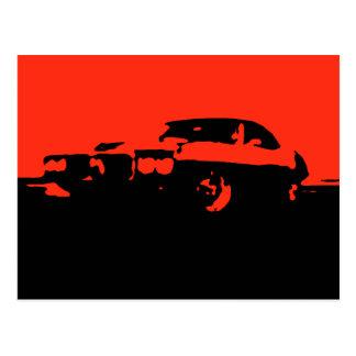 Pontiac Firebird, 1969 - rojo en la postal oscura