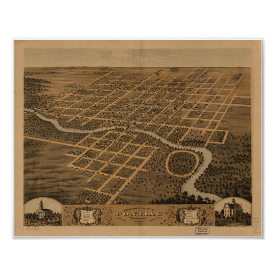 Pontiac Illinois 1869 Antique Panoramic Map Poster