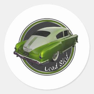pontiac lead sled green lowrider classic round sticker