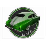 pontiac lead sled green metal flake lowrider postcard