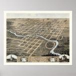 Pontiac, mapa panorámico de IL - 1869 Póster