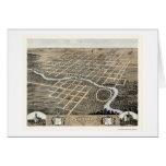 Pontiac, mapa panorámico de IL - 1869 Tarjeta De Felicitación