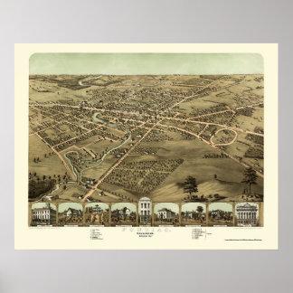 Pontiac, mapa panorámico del MI - 1867 Posters