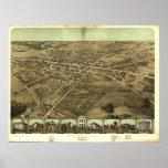 Pontiac Michigan 1867 Antique Panoramic Map Print