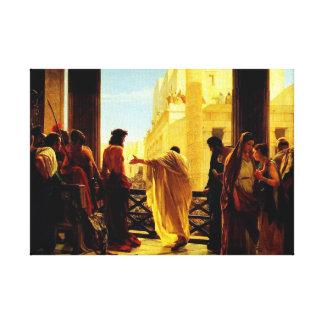 Pontius Pilate presenting a scourged Jesus Canvas Print