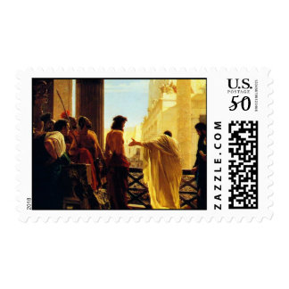 Pontius Pilate presenting a scourged Jesus to Jeru Postage
