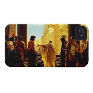 Pontius Pilate que presenta a un Jesús azotado iPhone 4 Cárcasas