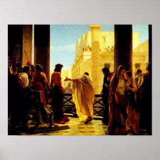 Pontius Pilate que presenta un poster azotado de J