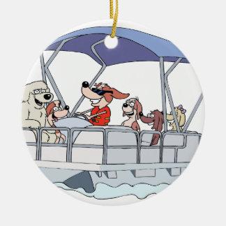 Pontoon Boat Ceramic Ornament