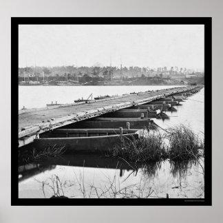 Pontoon Bridge Over the James River, VA 1864 Posters