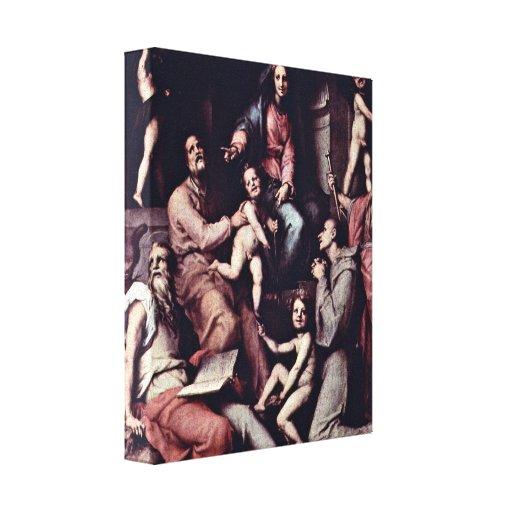 Pontormo - Enthroned Madonna and saints Canvas Prints