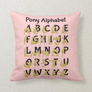 Pony Alphabet Chart, Pink Throw Pillow