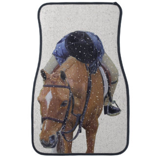 Pony and Girl in Snow Car Mat
