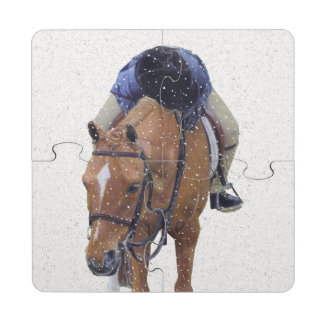 Pony and Girl in the Snow Puzzle Coasters Puzzle Coaster