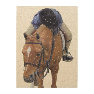 Pony and Girl in the Snow Wood Prints