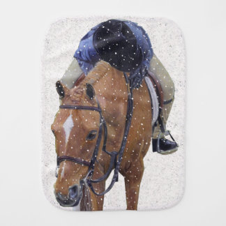 Pony and Girl in the Snow Baby Burp Cloth