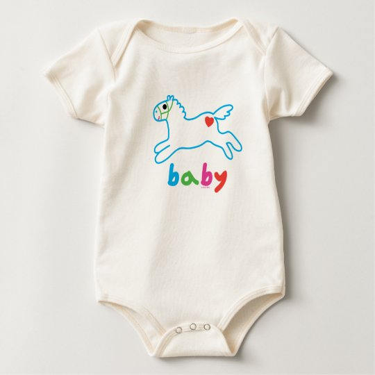 Pony and Heart by Andi Bird Baby Bodysuit